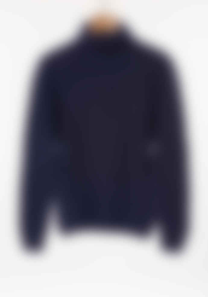 Freight HHG Navy Mens Lambswool Cable Knit Jumper