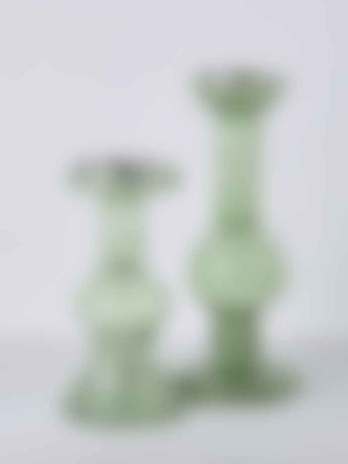 Wikholm Form Tall Green Channa Glass Bulb Candle Holder