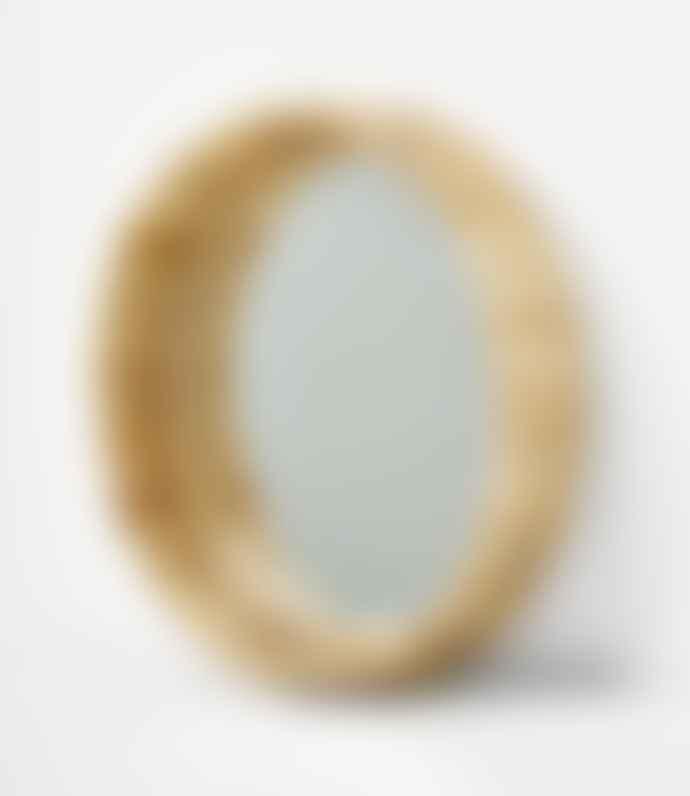 Madam Stoltz Round Mirror With Bamboo Frame