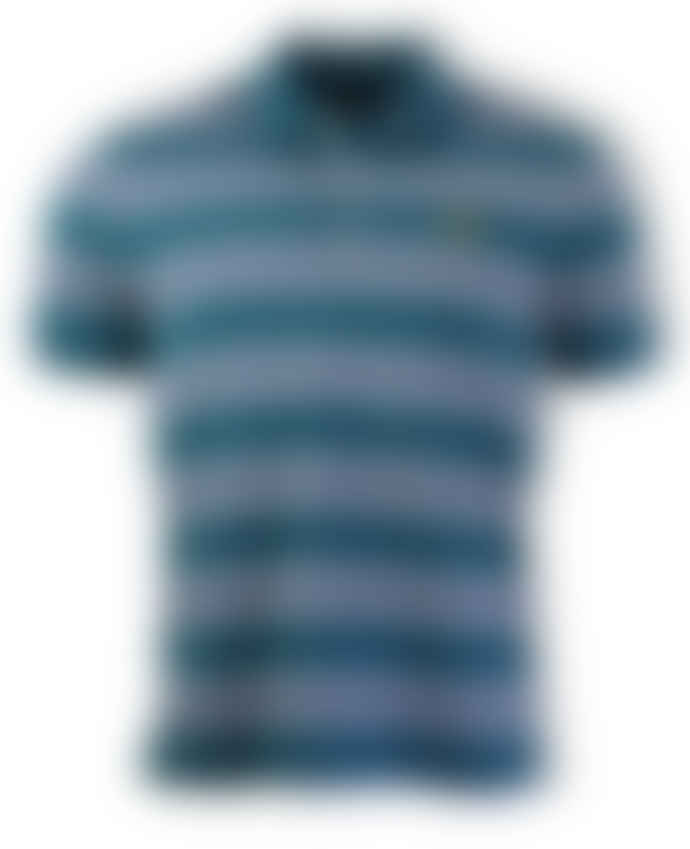 Lyle and Scott Petrol Teal Multi Stripe Polo Shirt (Petrol Teal)