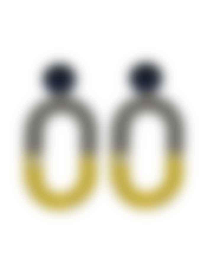 Big Metal Sandra Round Loop 2 Tone Resin Earrings Grey Yellow