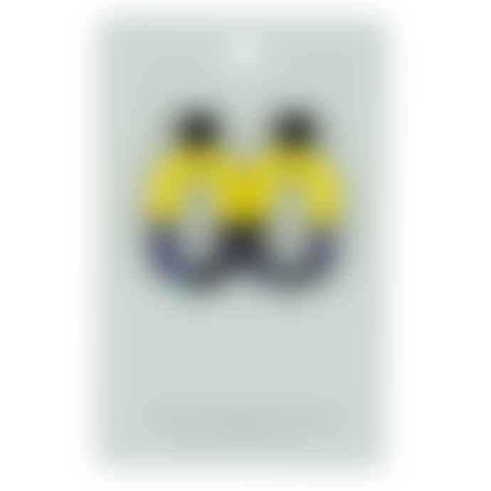 Big Metal Janette Round Loop 2 Tone Resin Earrings Yellow Blue