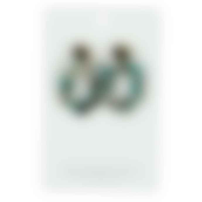 Big Metal Ines Metal Resin Hexagon Earrings Blue Black Multi
