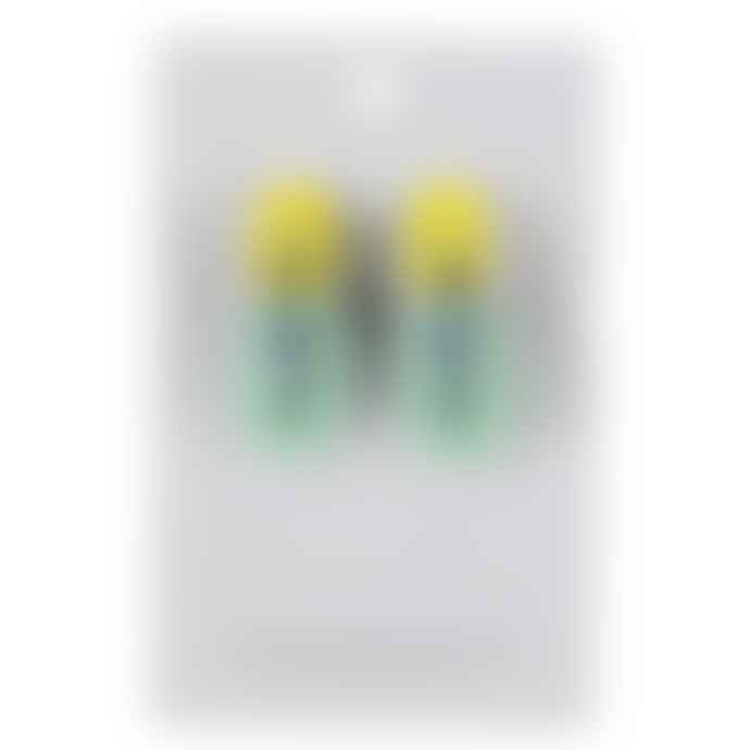 Big Metal Suki Links Earrings Yellow Blue Green