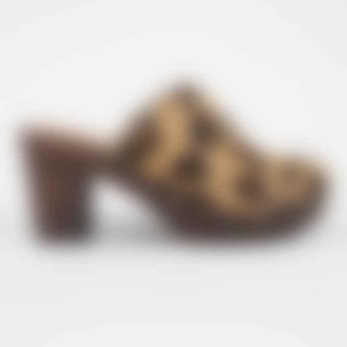 Penelope Chilvers Leopard Print Pony Mid Heel Clogs