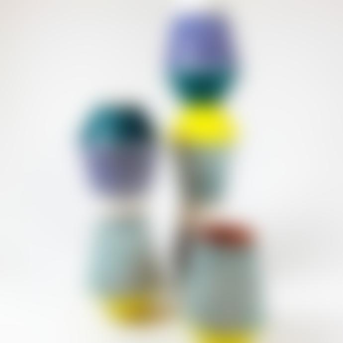 Pura Cal Small Terracota Ocean Green & Cobalt Blue Stripes Vase