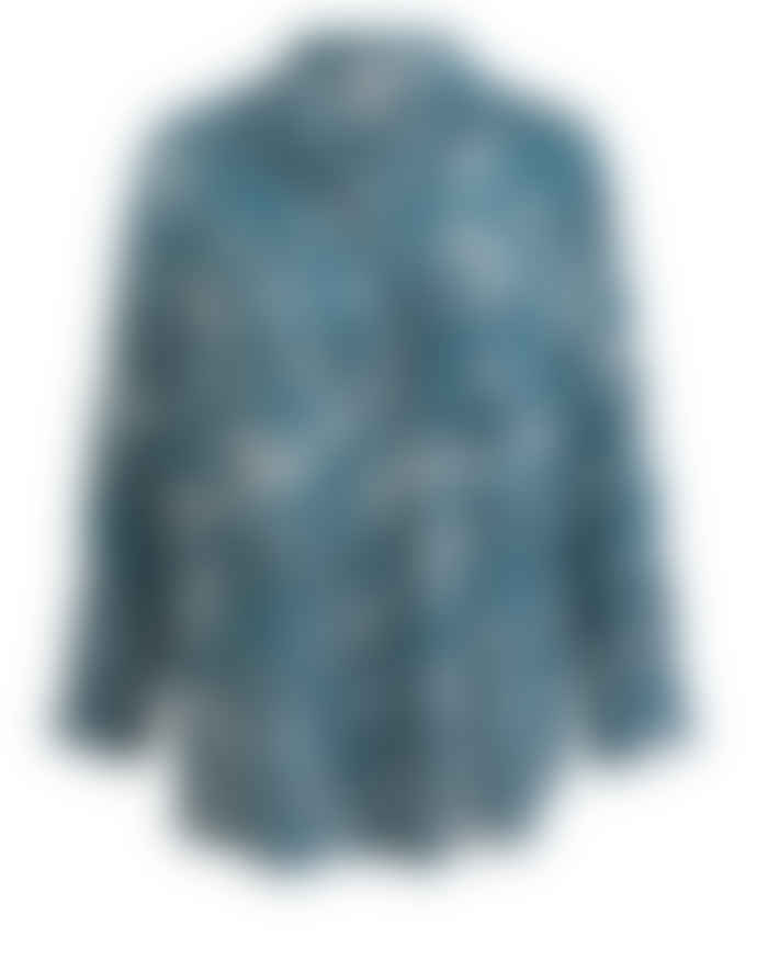 Wallace Cotton Teal Cotton and Modal Botanical Print Love Tale PJ Shirt