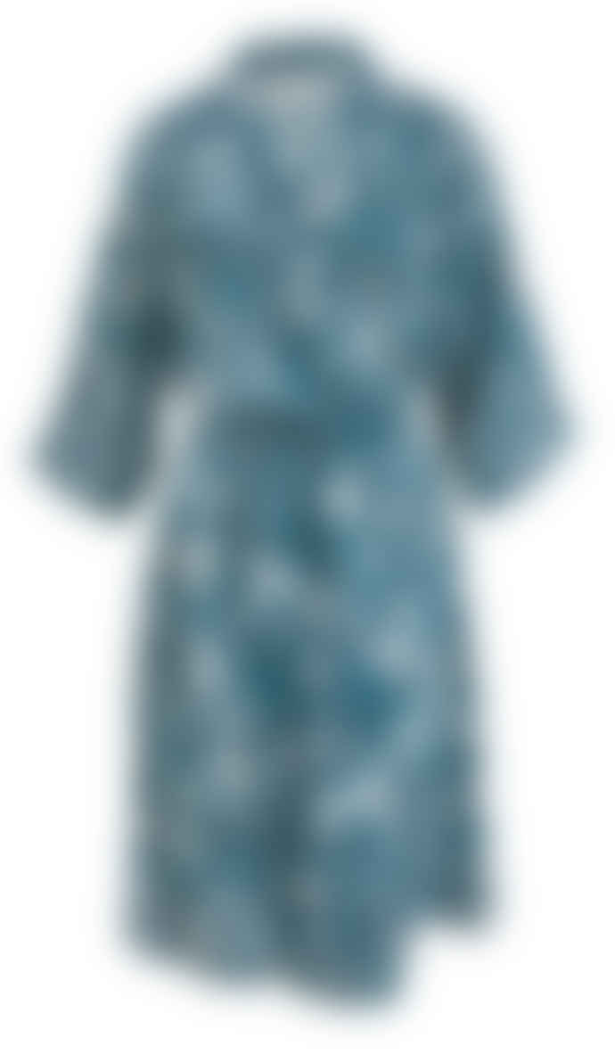 Wallace Cotton Teal Cotton and Modal Botanical Print Love Tale Robe