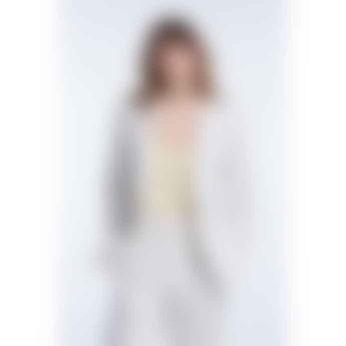 Set Fashion White With Black Stripe Single Breasted Blazer
