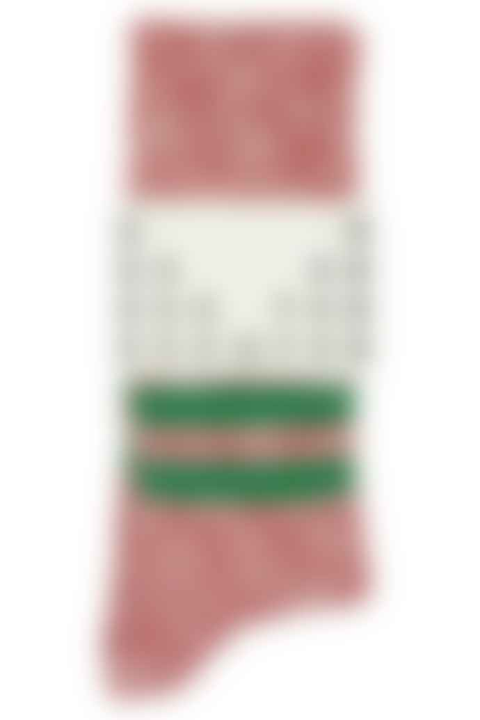 Escuyer Melange Stripe Red Green Cotton Socks