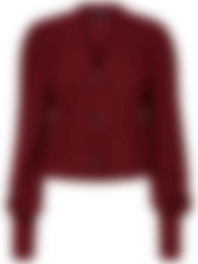Selected Femme Cabernet Cropped Knitted Deep Red/Wine Cardigan With V-Neck And  Extra Long Sleeves