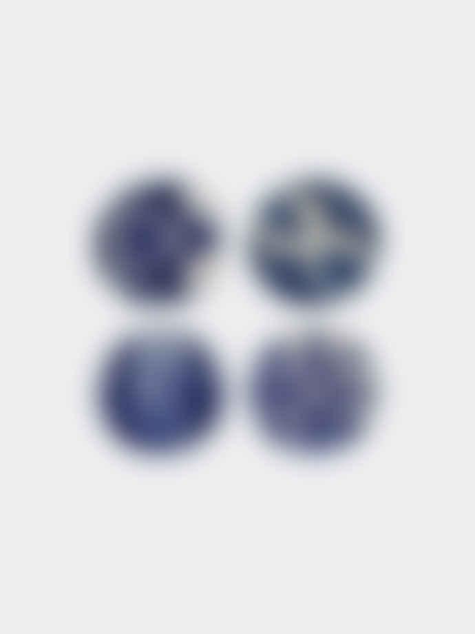 Costa Nova Set of 4 Ceramic Blue Coasters with Lisbon Tiles