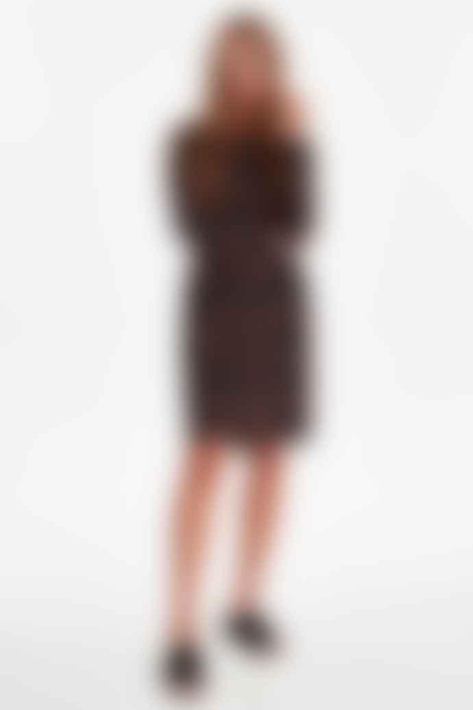 ICHI Long Sleeved leopard print  dress with tie belt