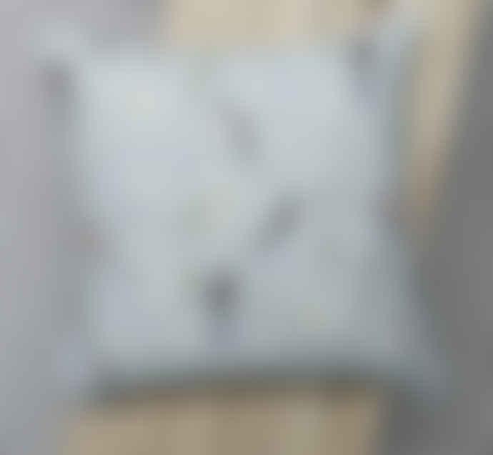 Lorna Syson Grey Bloom and Bird RSPB Square Cushion