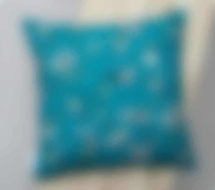 Lorna Syson Teal Hummingbird RSPB Square Cushion