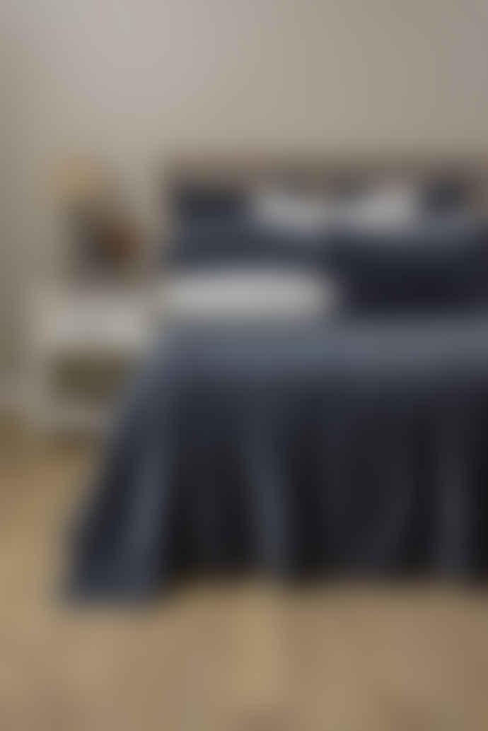 Wallace Cotton Indigo Chalet Quilted Velvet Bedspread Superking
