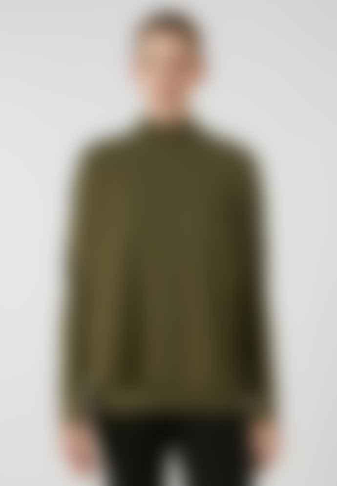 Armedangels Yunaa Organic Cotton Knitted Sweatshirt Moss Green