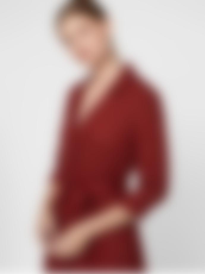 Vero Moda Burgundy Dot Pattern Midi Shirt Dress