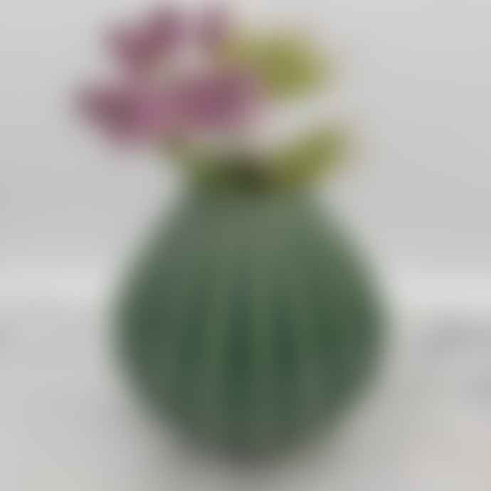 Broste Copenhagen Ceramic 'Wide' Vase Small Green