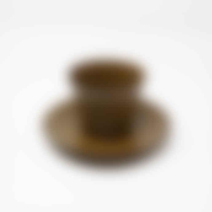 Gonggi Small Amber Teacup and Saucer Set