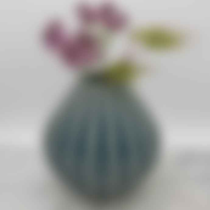 Broste Copenhagen Ceramic 'Wide' Vase Blue Small