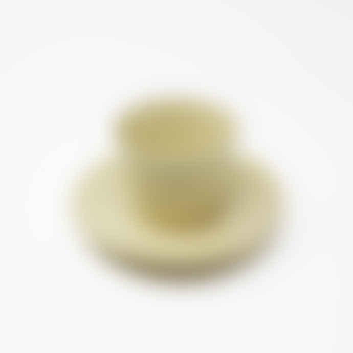 Gonggi Small Yellow Teacup and Saucer Set