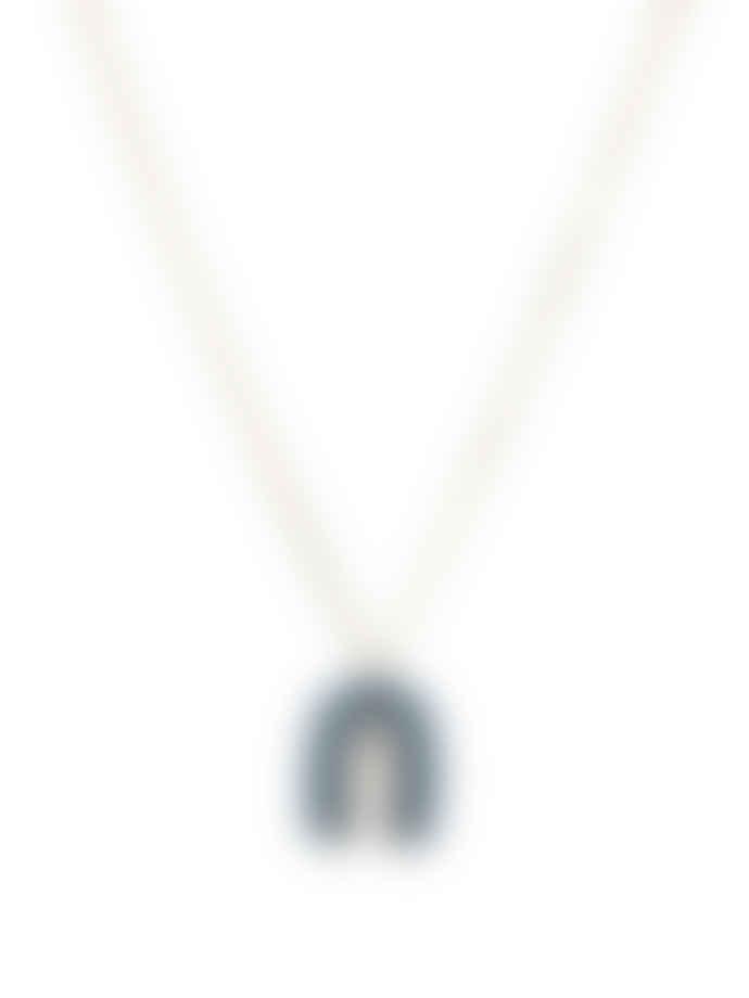 Big Metal Navy Blue Coil Arc Necklace