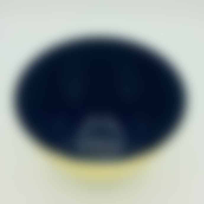 Broste Copenhagen Brass Finished Maria Medium Bowl with Blue High Gloss Interior