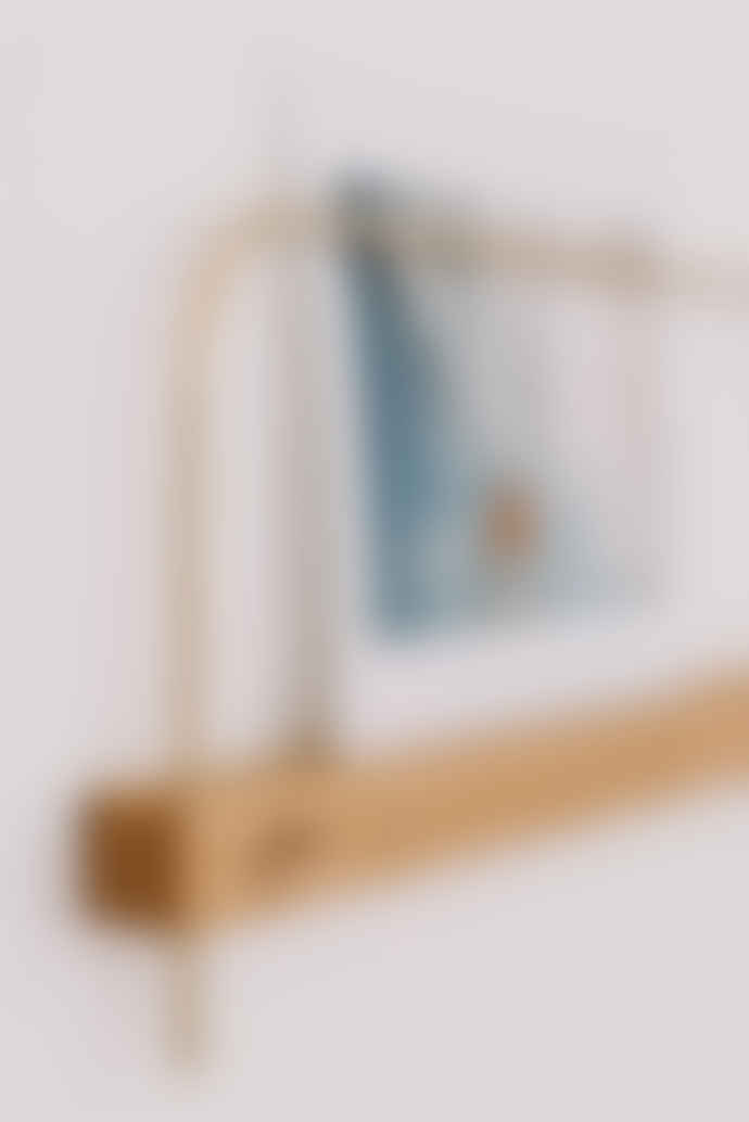gllu Small brass and wood wall card rack