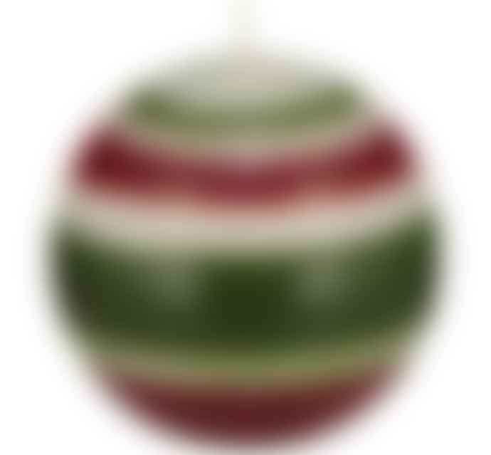 British Colour Standard Small Striped Ball Eco Candle In Guardsman Red, Pearl & Olive