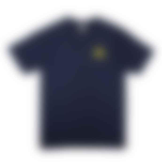 Hikerdelic Mountain Logo Tee - Navy / Yellow