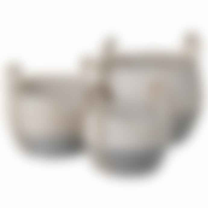 Persora Medium Squat Grey And White Sea Grass Basket