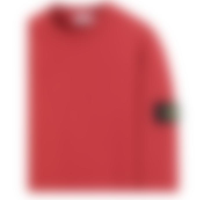 Stone Island Red Cotton Old Dye Treatment Crewneck Sweatshirt
