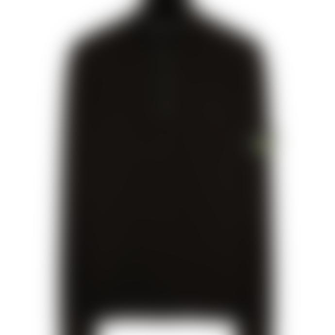 Stone Island Black Cotton Half Button Funnel Knit Polo Shirt