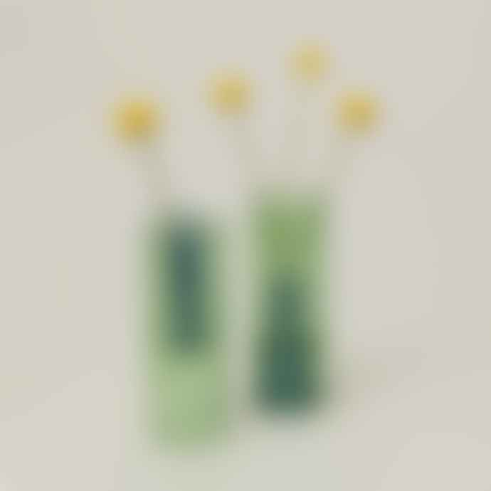 Block Design Green Reversible Glass Vase