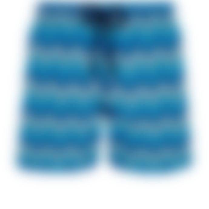 Vilebrequin Blue Marine Polyamide Herringbones Turtles Moorea Swim Shorts