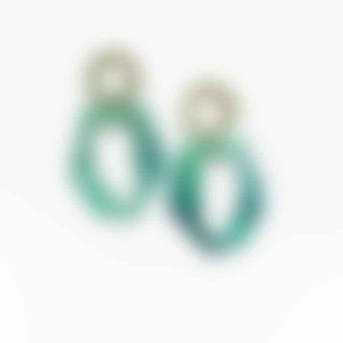 Big Metal Chunky Green Resin Drop Earrings