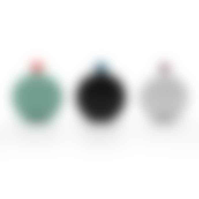 Lund London Skittle Round Hip Flask - Dark Grey & Sky Blue