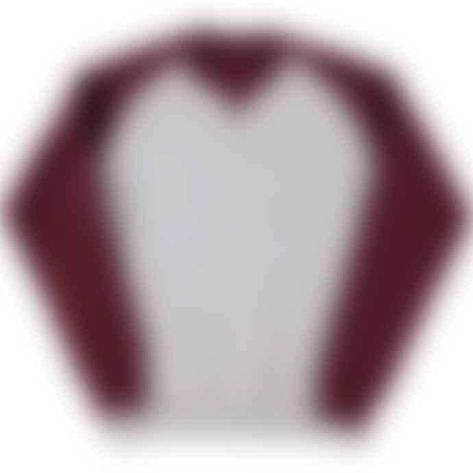 Russell Authentic Baseball Sweatshirt Oxford Grey Burgundy Melange