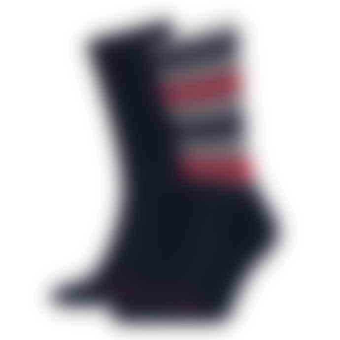 Tommy Hilfiger Jeans Stripe Socks 2 Pack Navy