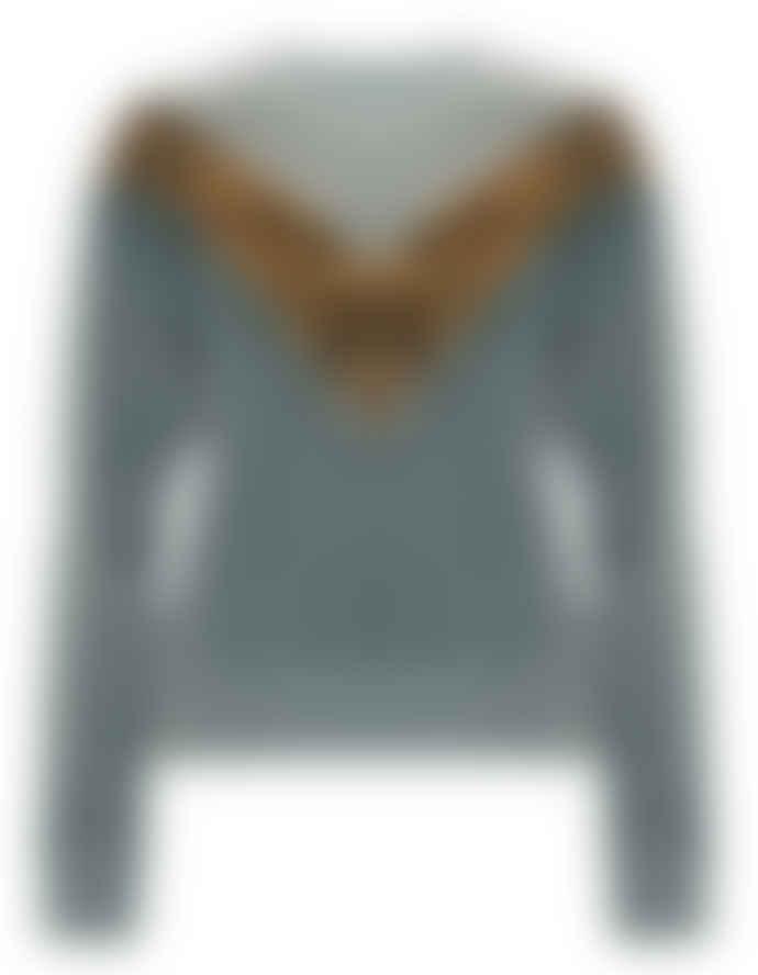 Leon & Harper Sandia Leopard Print And Teal Sweatshirt