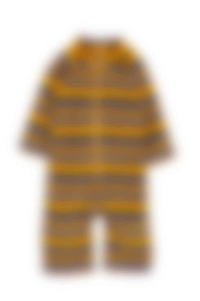 Mini Rodini Yellow Stripe Velour Onesie