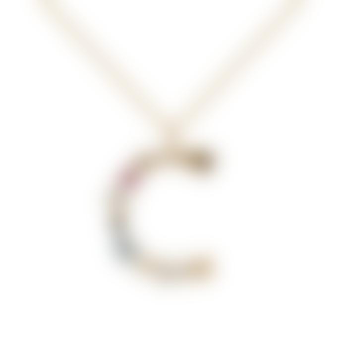 P D PAOLA Sparkling Initial Necklace Gold Letter C