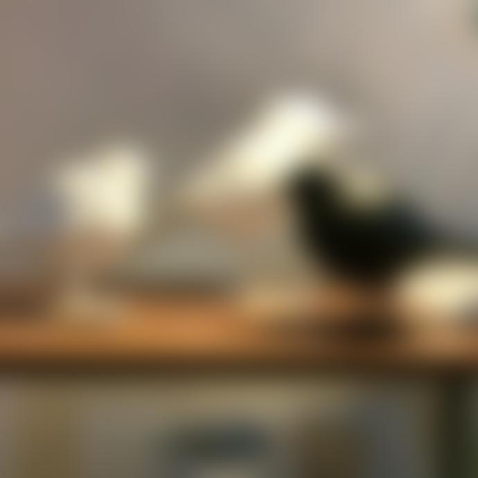 Large Geometric Retro Bird Statue White