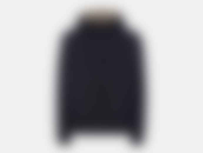 Aquascutum  Navy Polyester Tyne Hooded Reversible Blouson