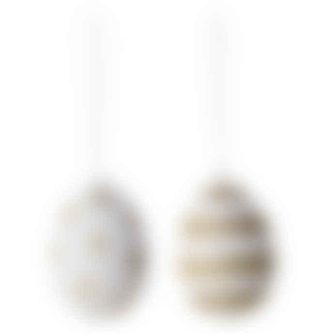 Bloomingville Set of 2 White Gold Trendy Easter Eggs