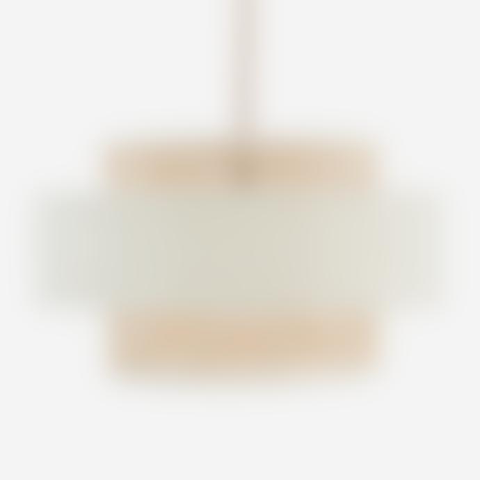 Madam Stoltz Off White Velvet Ceiling Lamp with Cane