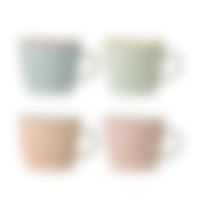 Four Carla Patterned Stoneware Mugs