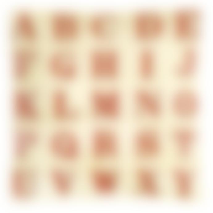 JOHN DERIAN Red Alphabet Un Vide Poche Square Decoupage Glass Tray