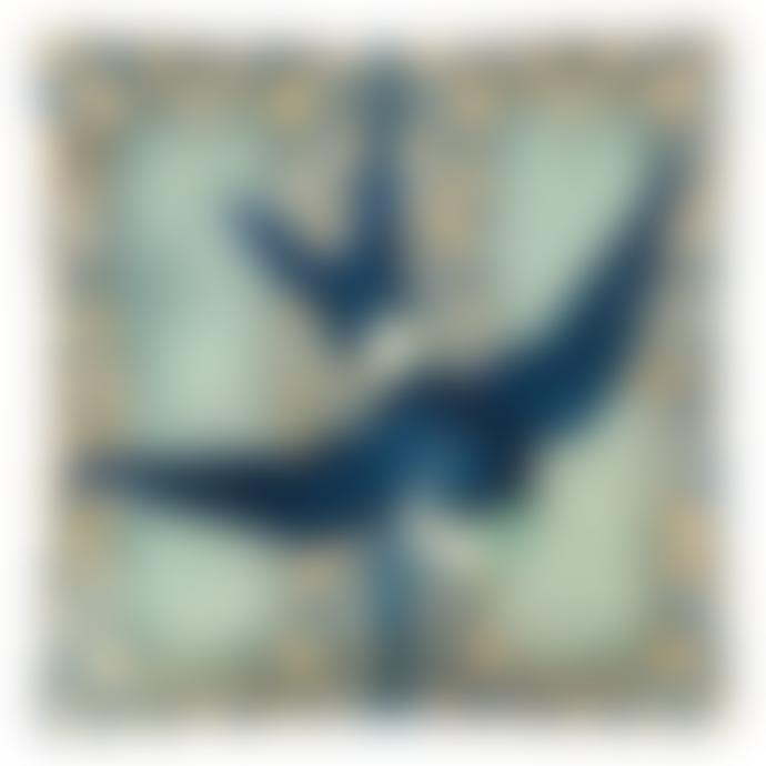 JOHN DERIAN Blue Swallow Un Vide Poche Square Decoupage Glass Tray